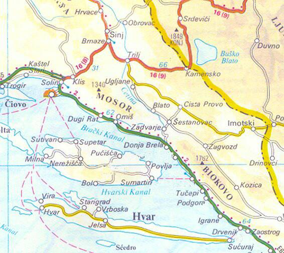 Map of Croatia showing the route from Split to Baska Voda on the