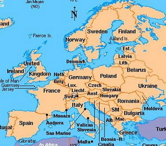 map of europe and asia minor. A map of Europe .